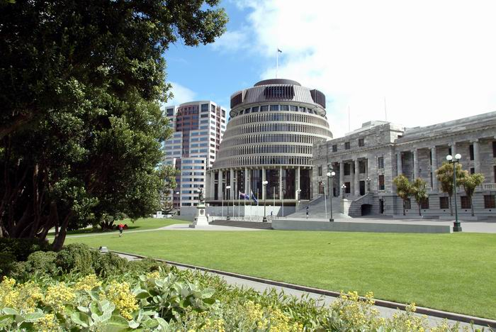 Beehive & Parliament Buildings in Wellington, Neuseeland